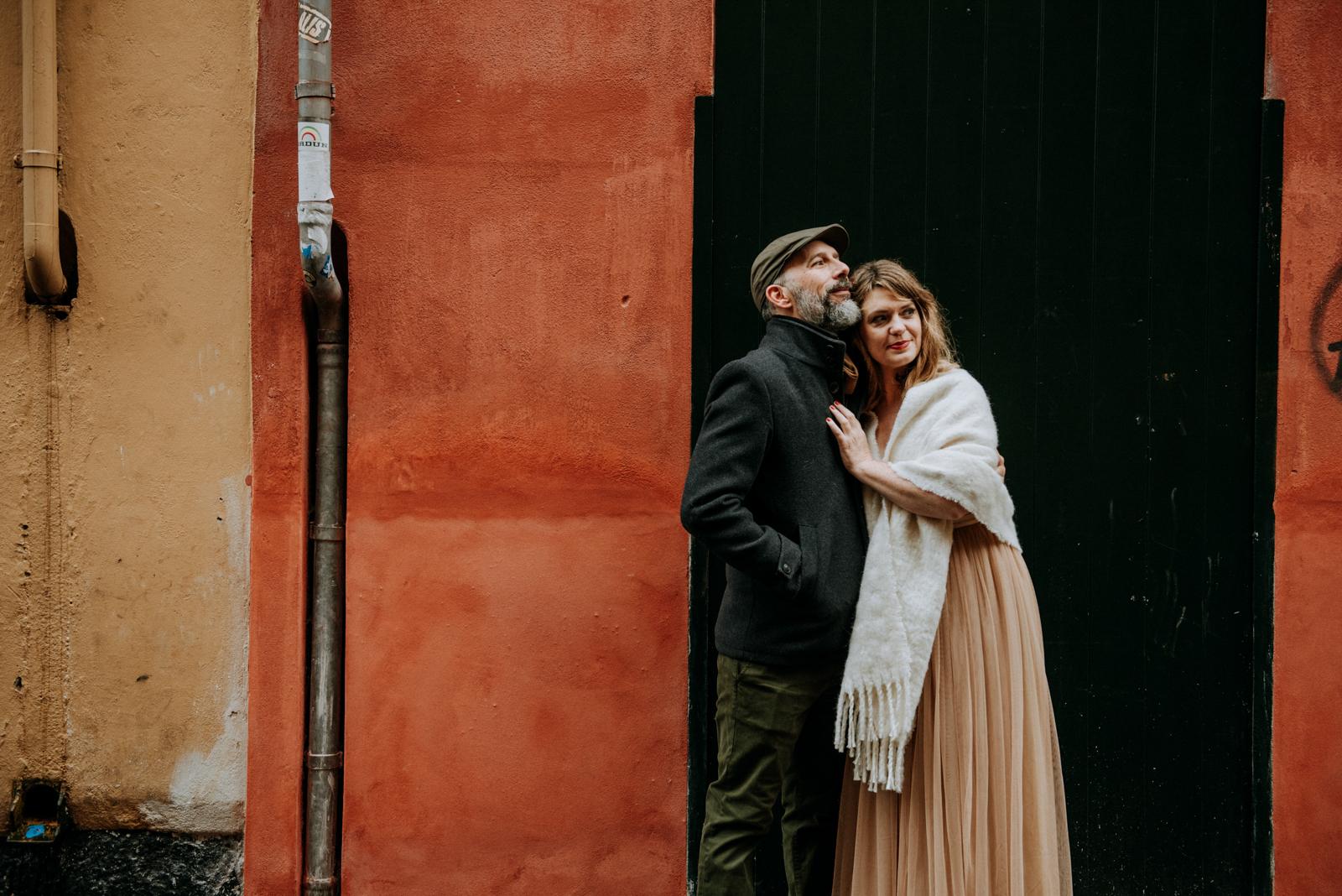 wedding couple on the street