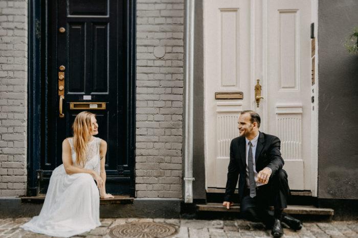 wedding couple on the street in Copenhagen