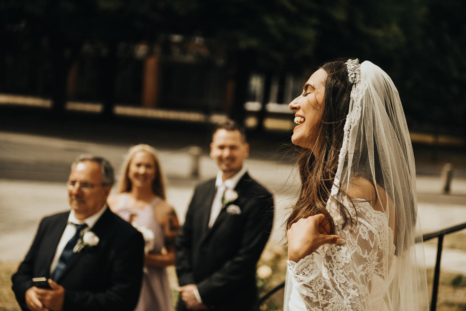 bride smiling wedding in Malmo